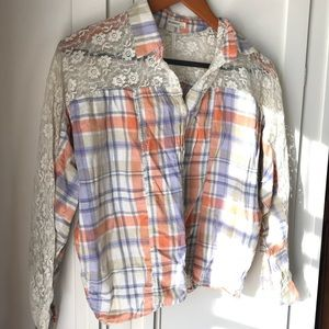 Comfy plaid and lace cropped button-up